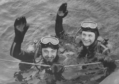 Aquanauts Vilem Kocian & Vladimir Geist return to the surface after 100 hours in UW habitat.