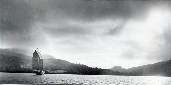 "Nick's ""GRASSHOPPER"" approaching Isthmus, Catalina Island, California Christmas 1977"