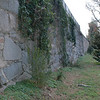 Massive stone walls surrounds the southern end of Hollywood Cemetery.