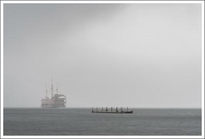 Lake Ashi again.  The fog and rain was gradually getting worse.