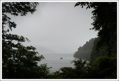 Lake Ashi seen from the entrance to the museum.