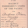 Andrew Olsen,Halibut Union Card 1907,