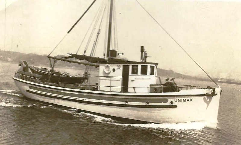 Unimak Built 1924 Seattle  Jalmar  Rockness  Enok Kolnes  Martin Terning  Patrick Selfridge  April 16  1988 Vessel capsized and sank in Icy Bay All hands saved