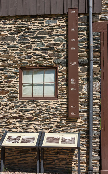Here are the high water marks of the various floods over the years. Note the building construction. Rock from the surrounding hills was used.