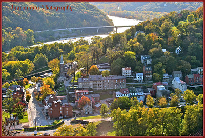 October 21, 011. Harpers Ferry with the Shenandoah River in the background. I climbed a mountain, came over the crest , came part way back down and went out on a rock cliff to take this shot... it almost killed me! I hope you like it.