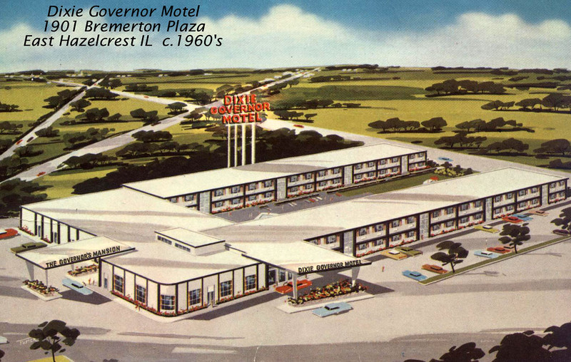 DIXIE GOVERNOR MOTEL - 175th St - East Hazelcrest, IL<br /> Postcard --across from Surma's Restaurant then