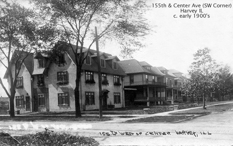 155th & CENTER AVE. - HARVEY, IL - EARLY 1900'S<br /> Later the corner building was Glenn Dreesen's photography studio.  155th was the block of Harvey's elite for many years.