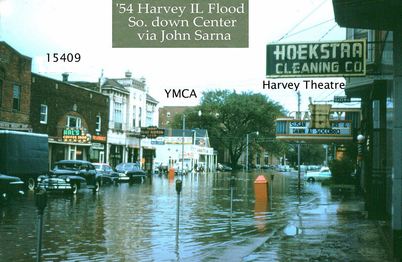 CENTER AVENUE - HARVEY, IL - 1954 FLOOD<br /> Hal's Coffee shop on left - Raphael's Pharmacy in front of theatre.