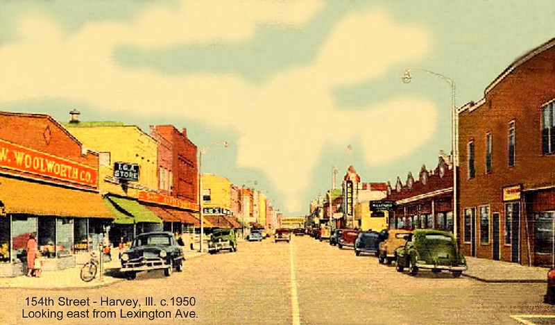 LEXINGTON LOOKING EAST - POSTCARD - c.1950<br /> Woolworth, IGA foods on right,  Kroger on right in distance.