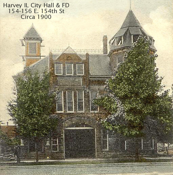 HARVEY (IL) CITY HALL AND FIRE DEPARTMENT<br /> Original city hall building.  Fire station garage are the large doors in the center.