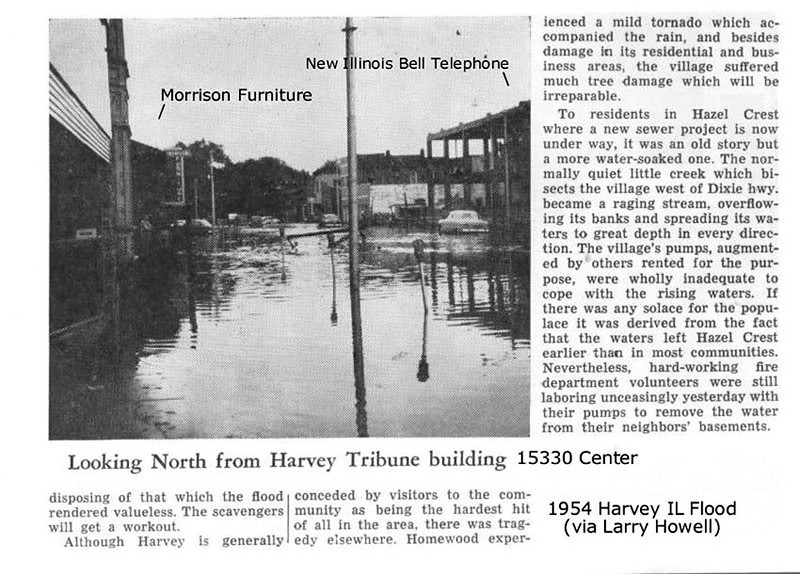 CENTER AVENUE - HARVEY, IL - 1954 FLOOD