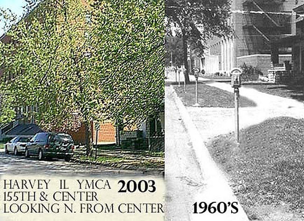 YMCA AREA - HARVEY IL<br /> Parking meters became quite an issue when installed - parking was difficult to find in downtown Harvey in the 1940-60's.  Dixie Square Mall later would center on that problem to lure shoppers away from downtown.
