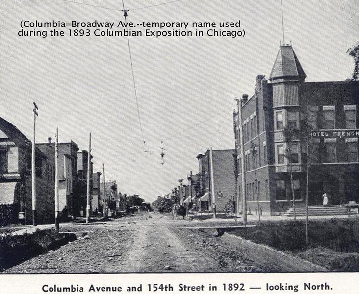 154th & BROADWAY - HARVEY, IL - 1892<br /> Streets were not paved and the few sidewalks were wooden.<br /> Horses and buggies were the main transportation mode.