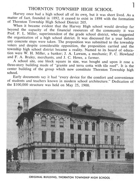 """THORNTON TWP. HIGH SCHOOL - HARVEY, IL - HISTORY 1<br /> <br /> For more history check out the Thorntonites alumni newsletter website:<br /> <a href=""""http://thethorntonites.com"""">http://thethorntonites.com</a>"""
