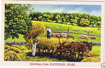 Hatfield Greeting with Hay Wagon