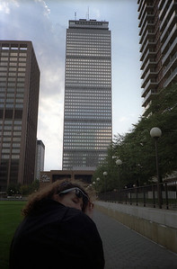 Heidi looks back in the shadow of the Prudential building (Boston 1988)