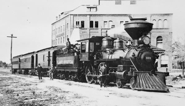 Savannah, Florida & Western railway 4-4-0 engine number 603 was built by Baldwin in 1883. It later served Henry Plant's Jacksonville, Tampa, & Key West railway as number 3 and then the ACL as number 562. Courtesy State Archives Collection