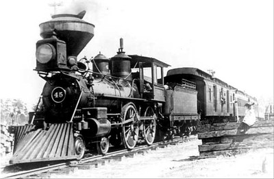 On the 'A' Line. Savannah, Florida & Western railway 4-4-0 engine number 45, shown at Crescent City Florida in 1899, was built by Rogers in 1882. The Savannah, Florida & Western railway was the flagship of the Plant System, and one of the predecessors of the Atlantic Coast Line in Florida. Locomotive number 45 later served Henry Plant's Florida Southern railway and then the ACL C-5 as 472. Courtesy State Archives Collection