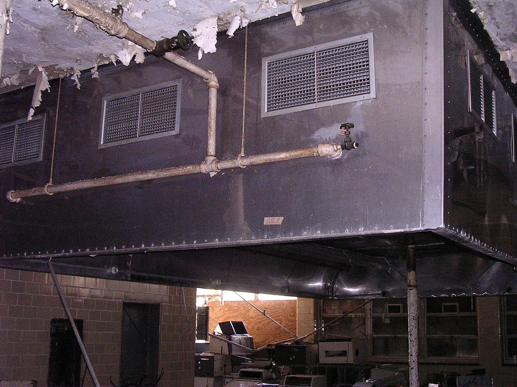 The range hoods in the kitchen, which once ventilated six large commercial ranges. The ranges are gone, probably destroyed by vandals.<br /> <br /> 4-23-07