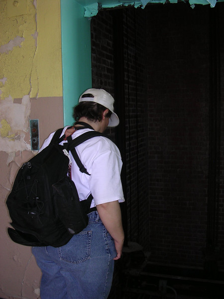 A friend looking down at the top of the elevator.<br /> <br /> 4-23-07