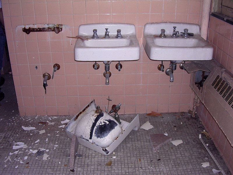 One of the hall bathrooms that served a number of patients. There were three sinks in each bathroom.<br /> <br /> 4-23-07