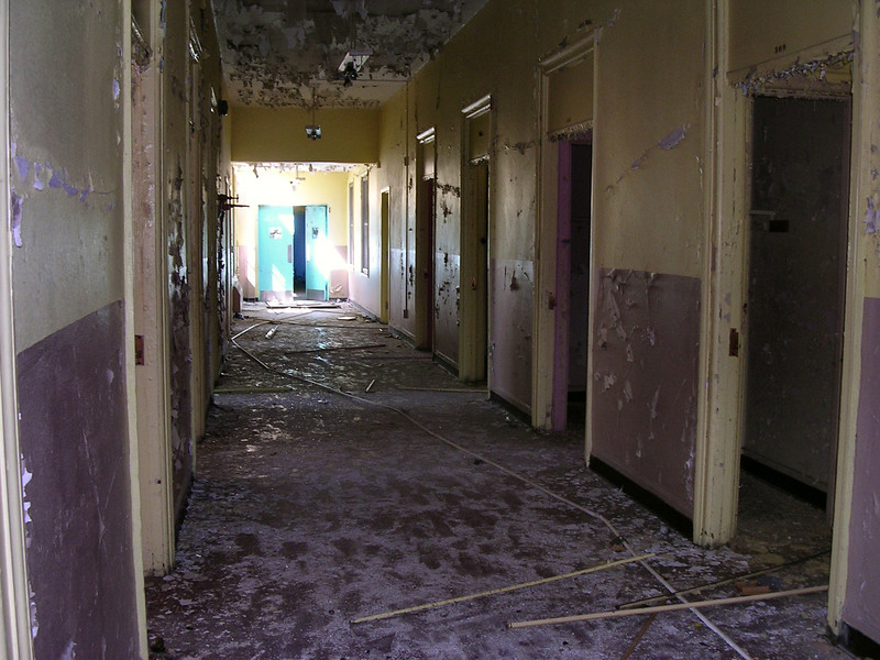 The third floor corridor, lined with patients' rooms.<br /> <br /> 4-23-07