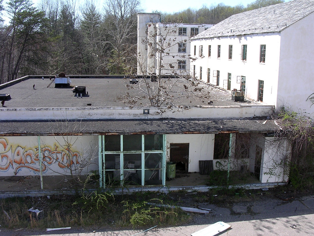 This was the kitchen, in an addition behind the old main building. A paulownia tree has grown up through the roof -- the roots and trunk are inside a wall in the building (see next three photos).<br /> <br /> 4-23-07