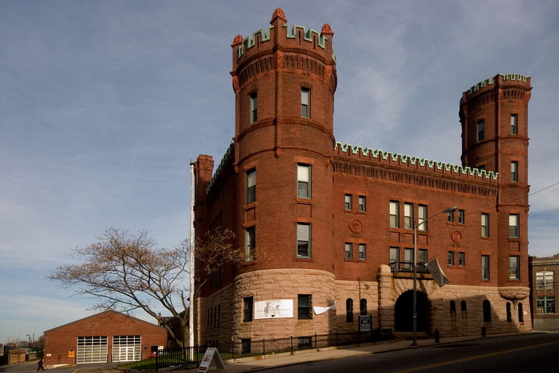<center>Pawtucket Armory<br>Pawtucket, Rhode Island<br>The Pawtucket Armory is a Romanesque Revival brick and copper structure built in 1895. It housed the Rhode Island National Guard until 1994.</center>