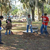 Boy Scouts at Oak Grove Cemetery doing a Cleanup to help a fellow Scout attain his Eagle Scout distinction