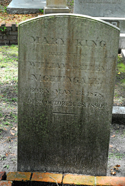 Mary King Nightingale<br /> Daughter of William Nightingale and Ellen Nightingale - Oak Grove Cemetary in downtown Brunswick, Georgia - Nightingale Plot