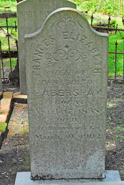 Frances Elizabeth Habersham<br /> Married John Bolton Habersham - Oak Grove Cemetary in downtown Brunswick, Georgia - Nightingale Plot