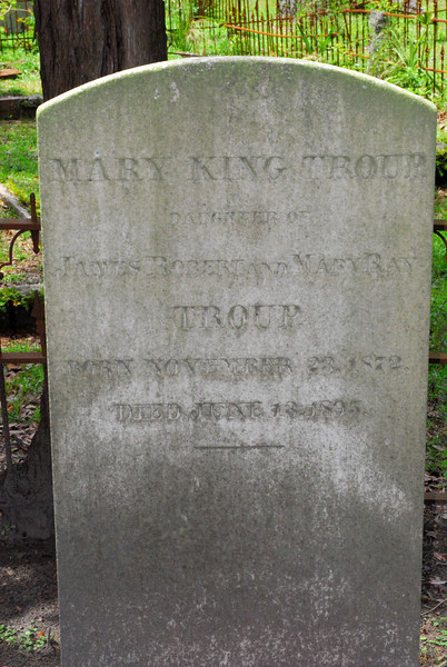 Mary King Troup<br /> Daughter of James Robert Troup and Mary Ray Troup - Oak Grove Cemetary in downtown Brunswick, Georgia - Nightingale Plot