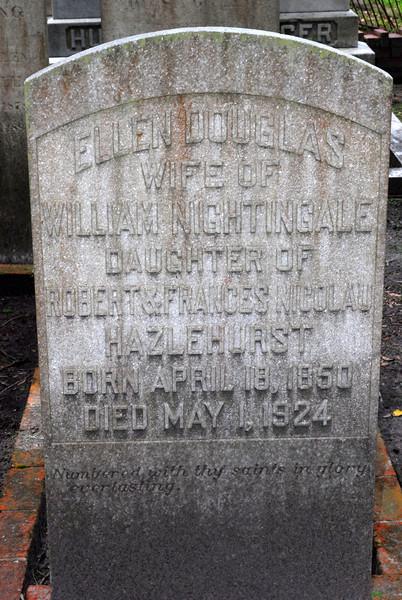 Ellen Douglas Nightingale<br /> Married William Nightingale, Daughter of Robert and Francis Nicolau Hazelhurst - Oak Grove Cemetary in downtown Brunswick, Georgia - Nightingale Plot