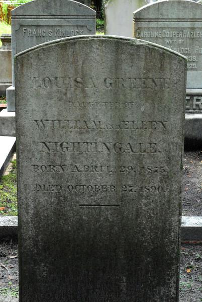 Louisa Greene Nightingale<br /> Daughter of William and Ellen Nightingale - Oak Grove Cemetary in downtown Brunswick, Georgia - Nightingale Plot