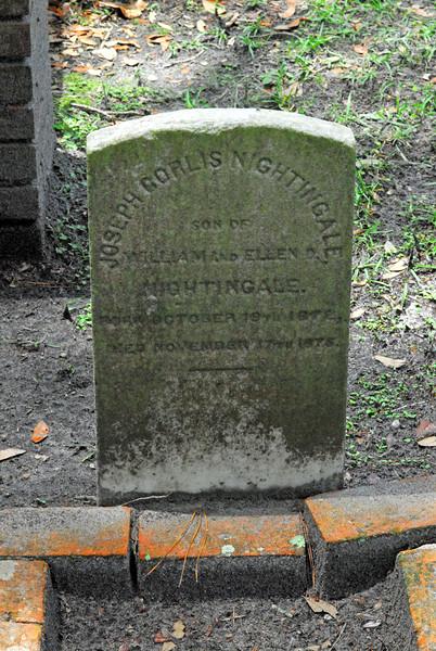 Joseph Corlis Nightingale<br /> Son of William Nightingale and Ellen Nightingale - Oak Grove Cemetary in downtown Brunswick, Georgia - Nightingale Plot