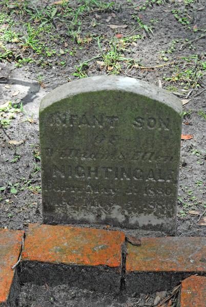 Infant Son Nightingale<br /> Son of William Nightingale and Ellen Nightingale - Oak Grove Cemetary in downtown Brunswick, Georgia - Nightingale Plot