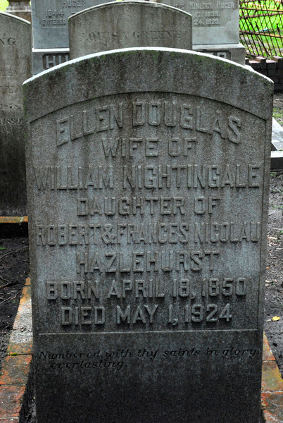 Ellen Douglas Nightingale<br /> Married William Nightingale, Daughter of Robert and Francis Nicolau Hazelhurst - Oak Grove Cemetary in downtown Brunswick, Georgia - Nightingale Plot