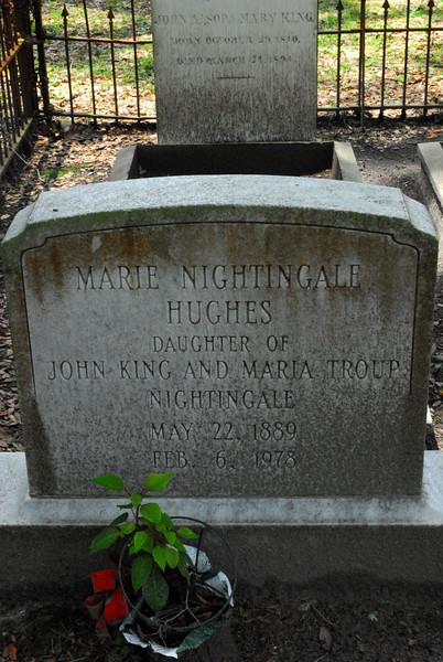 Marie Nightingale Hughes<br /> Daughter of John King Nightingale and Maria Troup Nightingale - Oak Grove Cemetary in downtown Brunswick, Georgia - Nightingale Plot
