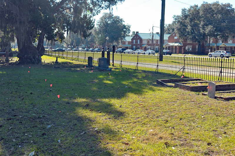 Oak Grove Cemetery Survey Flags for Unknown Graves  - GPR Project 12-09-20