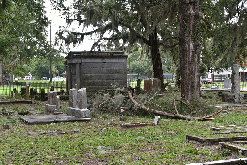 Oak Grove Cemetery Debris in Brunswick, Georgia after Hurricane Hermine 09-02-16