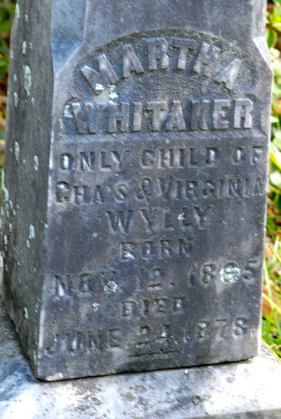Whitaker - Martha Whitaker b.1895? d.1878(1978?)<br /> Only child of Charles & Virginia Wylly