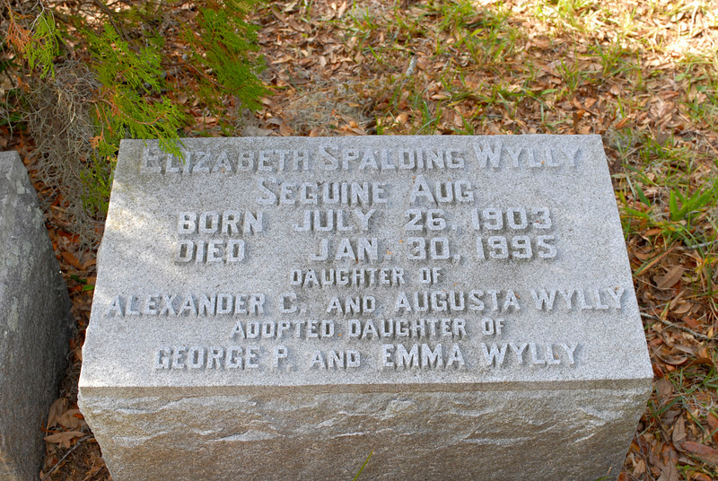 Wylly - Elizabeth Spalding Wylly (Seguine Aug) b. 1903 d.1995 daughter of Alexander C & Augusta Wylly and adopted daughter of George P & Emma Wylly