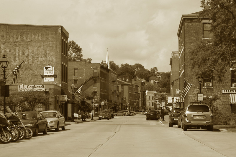 Historic Downtown Galena as we passed through the floodgates...