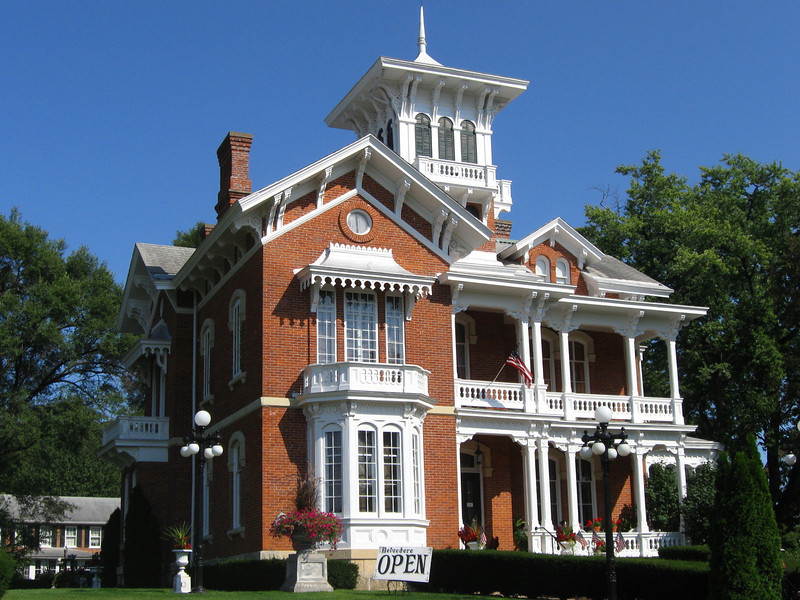 <i>Belvidere Mansion (ca. 1857)</i> - Originally the home was built for J. Russell Jones who was a wealthy steamboat owner and ambassador.  Though privately owned, the building is open for tours.
