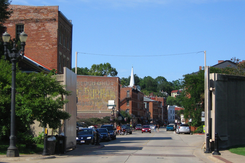 The first view most visitors have of the historic downtown of Galena.  These massive flood gates protect the downtown from being inundated as it has been repeated times in the past...