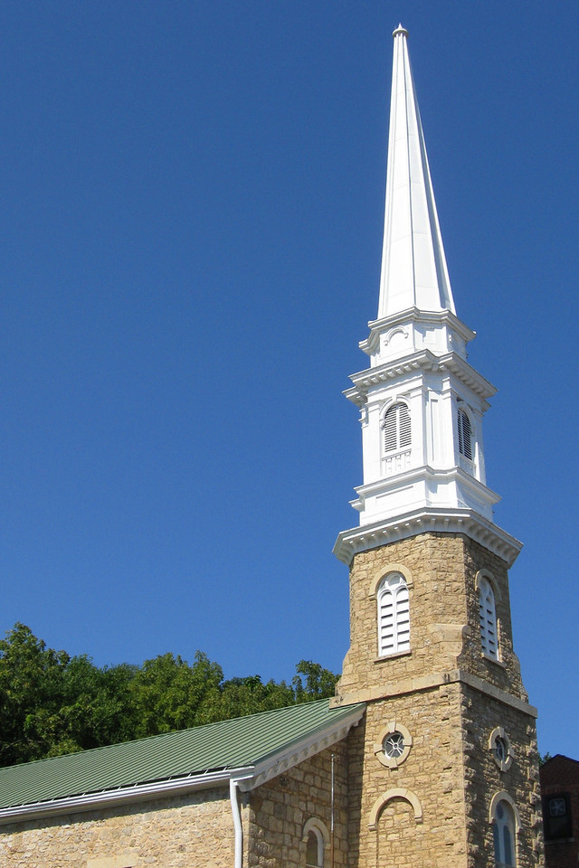 <i>First Presbyterian Church (ca. 1838)</i> - The oldest church in Galena, the First Presbyterian Church took less than a year to build.  The present church steeple was added along with other additions made in 1851.