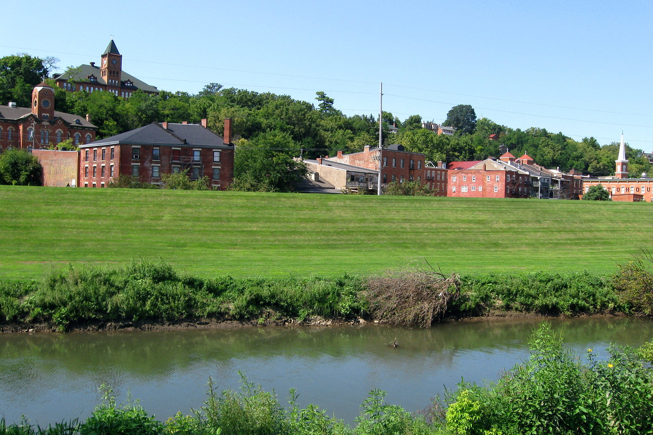The Old Galena High School (pictured later) sits high above the downtown from the south bank of the Galena River...
