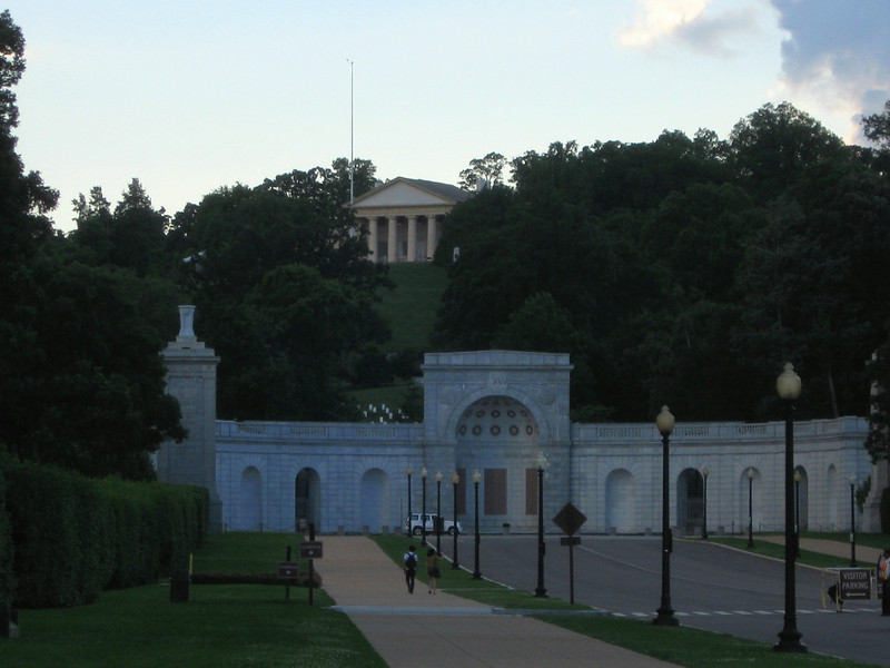 Arlington National Cemetery Entrance (ca. 1864) w/ Arlington House (ca. 1804), home of Robert E. Lee, on hill above.