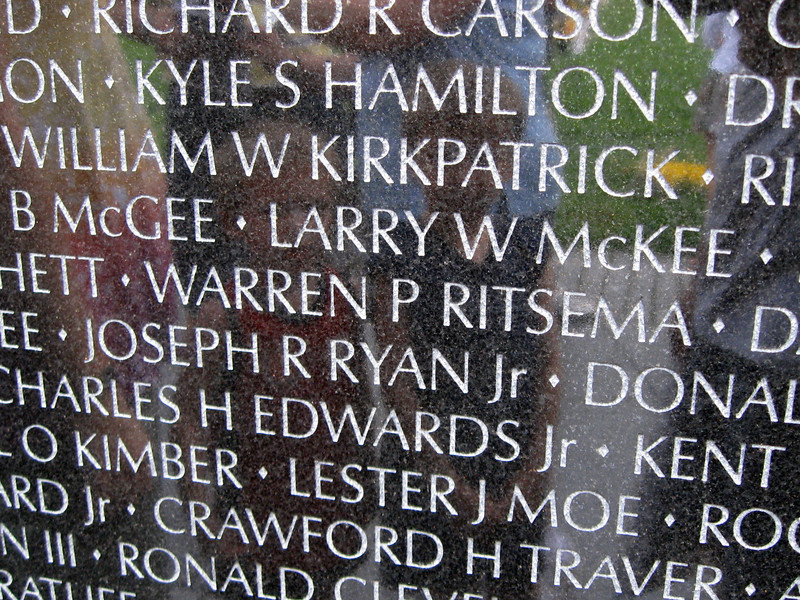 Vietnam Veterans Memorial (ca. 1982) - My great uncle, Warren P. Ritsema, who was killed in action March 28, 1971.