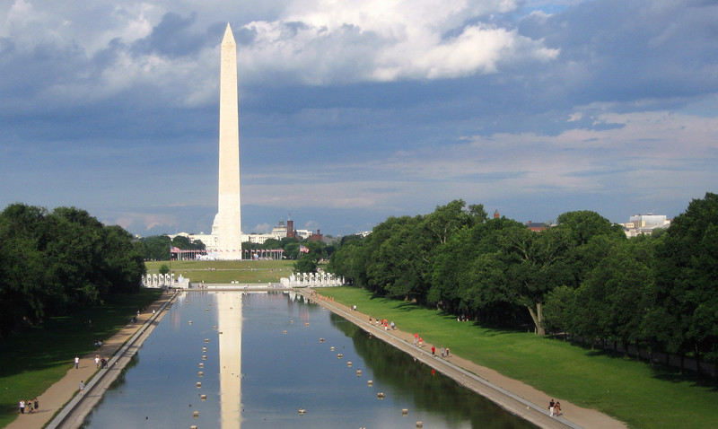 Washington Monument & Reflecting Pool from the steps of the Lincoln Memorial.
